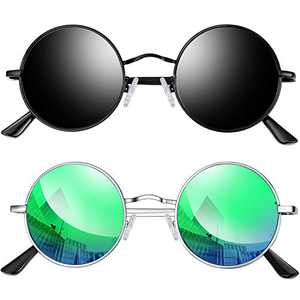 Joopin Lennon Round Sunglasses for Men Women, Small Circle Hippie Sunglasses Polarized (Black+Green)