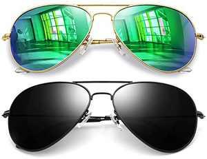 Joopin Aviator Sunglasses for Men Women, 2 Pack Military Style Sunglasses Polarized Medium Frame (Black+Green)