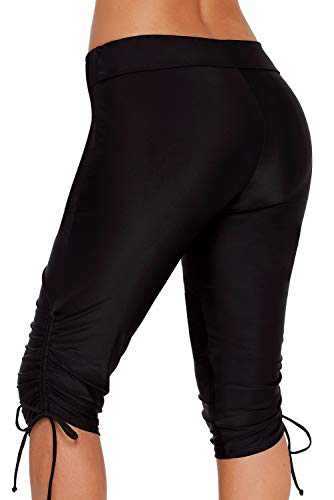 XAKALAKA Women Plus Size Board Shorts Capris High Waist Swimsuit Long Swim Shorts Black S