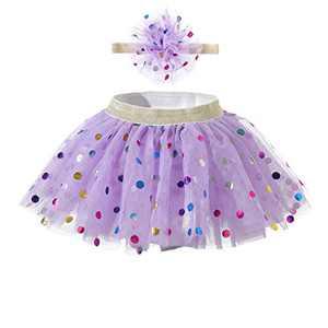 Baby Skirt Polka Dot Headband Sets for Toddler Baby Girl Tutu Dress Up 12-24 Months Purple