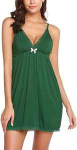wearella Women Lingerie V Neck Full Slip Nightgown Strap Model Sleepwear Lace Chemise