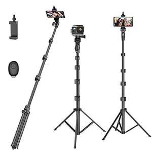 """Selfie Stick Tripod,55"""" Extendable Camera Selfie Stick with Tripod Stand and Detachable Wireless Remote Shutter for Phone 6 7 8 X Xs 11 12, Galaxy S9 Note8, Gopro,Smart Phones,Digital Cameras"""