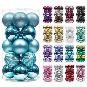 "XmasExp 20ct Christmas Balls Ornaments - Shatterproof Large Hanging Ball Decorative Xmas Balls for Holiday Wedding Party Xmas Tree Decoration(3.15""/80mm, Lake Blue)"