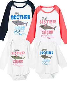 Aslaylme Baby Boys Matching Outfits Little Brother Shark Doo Doo Long Sleeve Bodysuit (Blue-LittleBrother LongSleeve,0-3 Months)