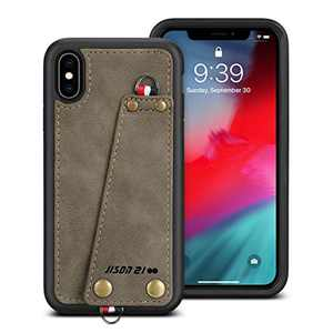 """JISON21 iPhone Xs Max Case,iPhone Xs Max Leather Wallet Case with Credit Card Holder Slot, Protective Cover with Crossbody Chain Strap Wrist Strap for Apple iPhone Xs Max 6.5"""" (Army Green)"""