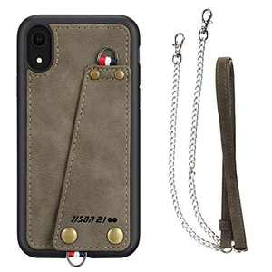 JISON21 iPhone XR case with Lanyard,iPhone XR Case Crossbody Chain with Credit Card Holder Slot Adjustable Detachable Strap Leather Case for Apple iPhone XR 6.1 inch 2018 … (Army Green)