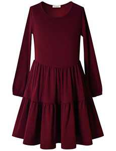 Perfashion Dress for Girls Elastic Cuffs Long Sleeve Ruffle Dress Burgundy 10-11 Years
