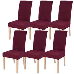 Dining Chairs Cover Removable Washable Chair Covers Protector for Home Hotel Dining Room Ceremony Banquet Wedding Party Restaurant High Back Chair Slipcovers Set 6 Pack Wine Red