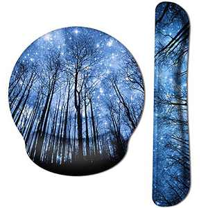 HAOCOO Ergonomic Mouse Pad Wrist Support and Keyboard Wrist Rest Set with Non-Slip Backing Memory Form-Filled, Easy-Typing and Pain Relief for Gaming Office Computer Laptop (Starry Sky&Forest)
