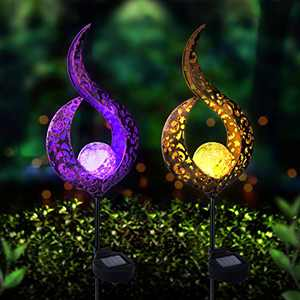 Beinhome 2 Pack Garden Solar Lights Pathway Outdoor Crackle Glass Globe Stake Metal Lights, Waterproof Decorative Lights Color Changing and Warm White Light for Lawn, Patio or Courtyard