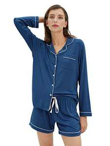 SIORO Womens Pajamas Soft Long Sleeve Top Short Pants Sleepwear Ladies Pajama Sets Button Down Loungewear, Indigo Blue, Small
