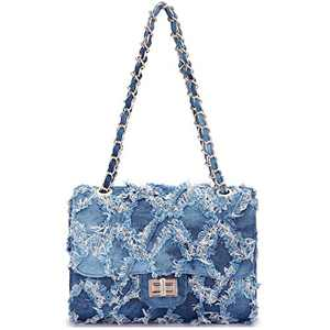 Women Fashion Casual Quilted Crossbody Distressed Jean Purse Denim Handbag Wallet Shoulder Bag with Intertwined Chain Straps (Blue)