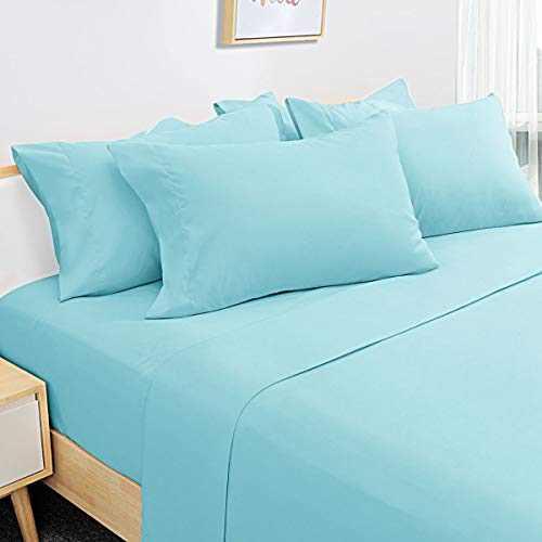 HOMEIDEAS 6 Piece Bed Sheets Set Extra Soft Brushed Microfiber 1800 Bedding Sheets Deep Pocket, Wrinkle & Fade Free (California King,Spa Blue=Aqua Blue)