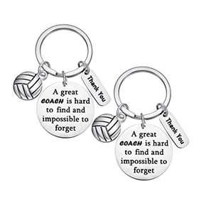 2 Pieces Volleyball Soccer Coach Keychain Thank You Gift for Coach with 2 Velvet Bags (Volleyball)