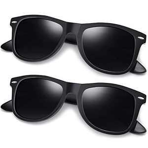Joopin Polarized Designer Sunglasses for Men Women, 2 Pack Unisex Classic 80s Retro Sunglasses (Matte Black+Matte Black)