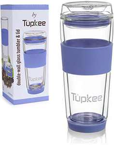 Tupkee Double Wall Glass Tumbler - 14-Ounce, All Glass Reusable Insulated Tea/Coffee Mug & Lid, Hand Blown Glass Travel Mug - Jacaranda