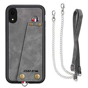 JISON21 iPhone XR case with Lanyard,iPhone XR Case Crossbody Chain with Credit Card Holder Slot Adjustable Detachable Strap Leather Case for Apple iPhone XR 6.1 inch 2018 … (Gray)