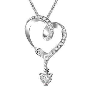 Angelady 925 Sterling Silver Heart Necklace for Women, Infinity Arrow Heart Pendant Necklaces for Girls Girlfriend Wife Anniversary Valentine Presents with Luxury Box