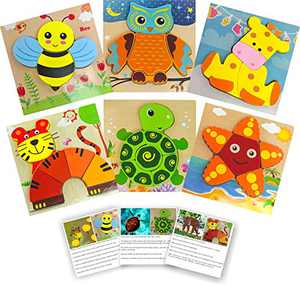 Wooden Jigsaw Puzzles for Toddlers with Animal Fact Cards by CUTIE CARRY Large Wood Puzzle Gifts Set Toys Shape for Girls and Boy Preschool Ages