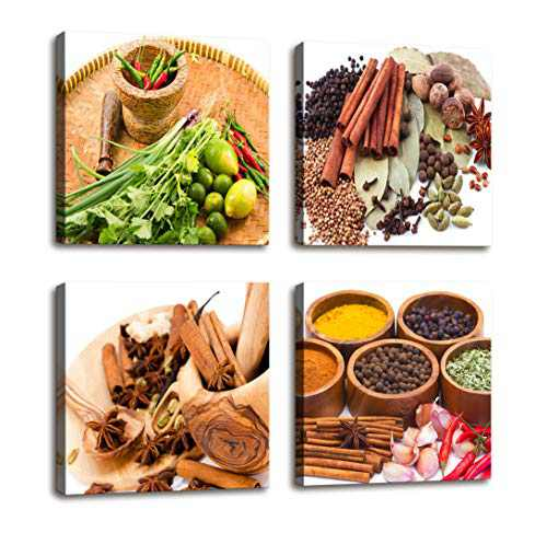 Kitchen Decorations Colorful Various Spice and Herbs Raw Material for Cooking Painting Canvas Print Wall Art - 4 Panels Large Canvas Artwork Food Pictures for Home Dining Room Decor 16x16inch 4pcs/set