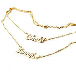 Personalized Name Necklace, Handmade Customized Double Layered Name Pendant Christmas Jewelry Gift for Women, Girls