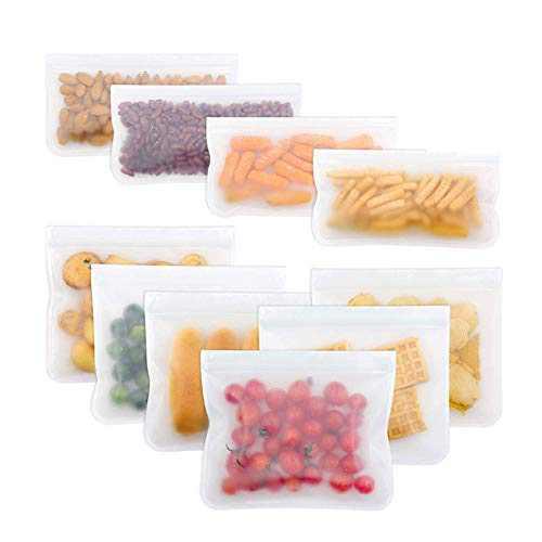 Reusable Storage Bags 10 Pack Leak Proof Freezer Bags(6 Reusable Sandwich Bags + 4 Reusable Snack Bags) Easy Seal Ziplock Lunch Bag for Kid Food Storage Home Organization (10Packs, 4x0.5L+6x1L)