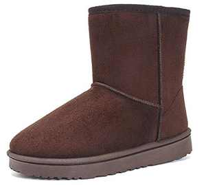 EasyMy Classic Short Snow Winter Boots for Women Coffee, 5 US