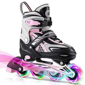 Gonex Inline Skates for Girls Boys Kids, Adjustable Skates Outdoor Blades Inline Roller Skates for Children Teens Women with Light Up Wheels for Indoor Outdoor Backyard Skating, Pink L