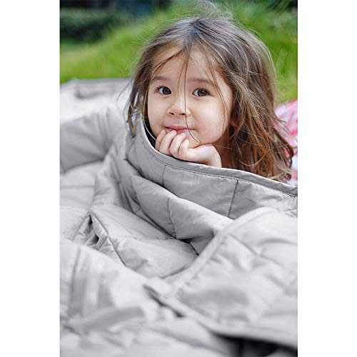 ZonLi Kid Weighted Blanket 5 lbs(36''x48'', Light Grey), Cooling Fabric Material for Kids with Glass Beads