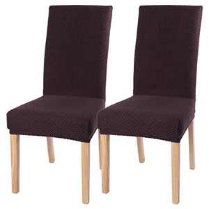 Stretch Dinging Chair Slipcovers, Removable Chair Slipcovers Washable Chair Covers for Home Hotel Dining Room Ceremony Banquet Wedding Party Restaurant 2 Pack Brown B