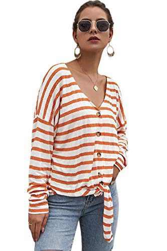 Carprinass Feminine Chic Button Winter Stripe Knitwear Tie Front Orange XL