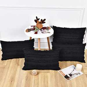 BLEUM CADE Set of 4 Black Pillow Covers Cotton Linen Throw Pillow Covers Cushion Cover Decorative Pillowcases for Couch Sofa Bed, Black, 12 x 20 Inches