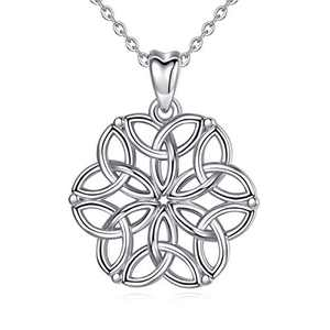 CELESTIA Celtic Knot Sterling Silver Necklace for Women Flower of Life Infinity Cross Irish Pendant Necklace Gift for Women Girls - 18Inch Chain