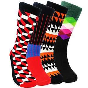 Mens Colorful Dress Socks Novelty - HSELL Men Funny Pattern Fashionable Fun Crew Cotton Socks (3D Grid - 4 Pairs)
