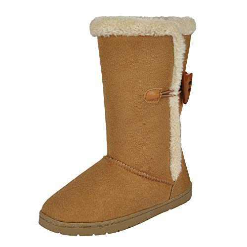 MIXIN Classical Snow Boots for Kids-Tall Boots for Girls Boys Anti-Slip Fur Lined Shoes for Little Big Kids Outdoor Size 12