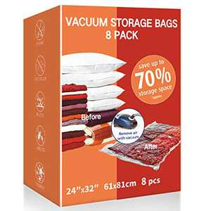 VacPack Space Saver Bags, 8 Pack Large Vacuum Storage Bags for Home and Travel (8L)