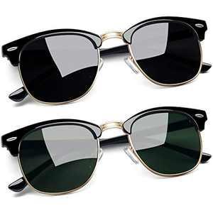 Joopin Semi-Rimless Sunglasses for Women Men, 2 Pack Horn Rimmed Half Frame Sunglasses Polarized ( Black+Olive)