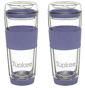 Tupkee Double Wall Glass Tumbler - 14-Ounce, All Glass Reusable Insulated Tea/Coffee Mug & Lid, Hand Blown Glass Travel Mug - Jacaranda - 2 Pack