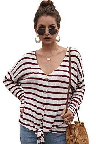 Carprinass Ladies Oversized Knit Top Warm Stripes Sweaters Short Cardigan Red M