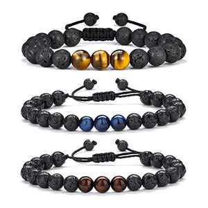 Boyfriend Gifts Mens Bracelet Beads - Natural Black Lava Rock Stone Mens Anxiety Bracelets Gifts for Men, Adjustable Aromatherapy Essential Oil Diffuser Healing Bracelet Gifts for Men Boyfriend Him