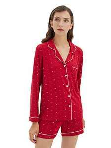 SIORO Pajamas for Women Long Sleeve Sleepshirt Short Bottoms Ladies Loungewear Set, Red with White Star Dot, Small