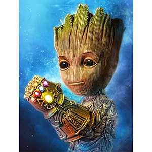 Diamond Painting Kits for Kids, DIY 5D Round Full Drill Art Perfect for Relaxation and Home Wall Decor 12x16 in, Groot