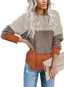LOSRLY Womens Chunky Color Block Crew Cable Knitted Loose Casual Pullover Sweaters M Yellow