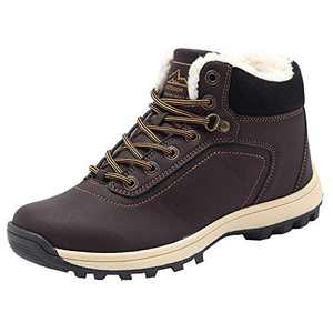 YIRUIYA Mens Snow Boots Water Snow Resistance Winter Boots Anti Slip Fur Lined Shoes for Men(Brown,12 M US)