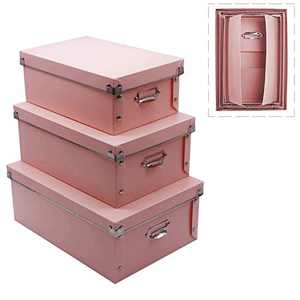 File Storage Boxes, Foldable Storage Bins with Lid 3 in 1 Set, Press-Stud Fastening, Moisture-Proof, Space Saving Storage, Storage Box for Photoes, Toys, Files, Closets