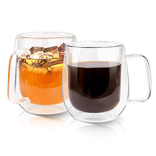 Growom Glass Coffee Mug, Double Walled Espresso Cup, Double Wall Insulated Coffee Cup with Handle, Clear Borosilicate Glass Mug for Latte, Cappuccino, Tea, Beverages, Christmas & Halloween gifts