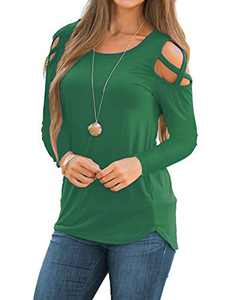 Rdfmy Women's Lace Long Sleeve Tops Casual Round Neck Top Blouses (S, D-Long/Green)