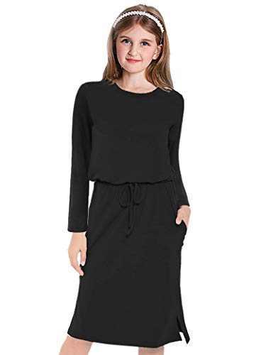 Danna Belle Girls Long Sleeve Elastic Waist Straight Dress with Pockets Black,6-7Years