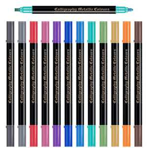 Metallic Markers Dual Tip, 12 Colors Metallic Paint Pens for Black Paper, Shimmer Markers for Scrapbook, Photo Album, Gifts Card Making, DIY Arts & Crafts Supplies Scrapbooking Supplies