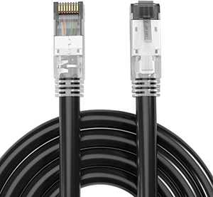 Cat 8 Ethernet Cable 16FT 40Gbps 2000Mhz S/FTP 23AWG Weatherproof UV Resistant High Speed Patch Cord with RJ45 Gold Plated Shielded Connector for PS4 PS5 Xbox Gaming PC Router Modem (16 feet (5M))